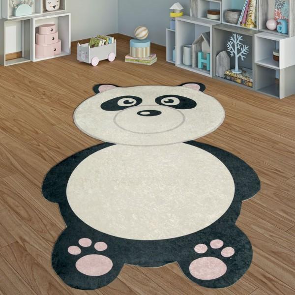 Kinderteppich Spielzimmer Pandabär Jungen Mädchen Interieur Schwarz Weiß