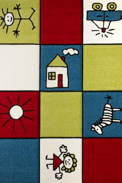 Moderner Kinderteppich Multicolour Rot Blau Grün