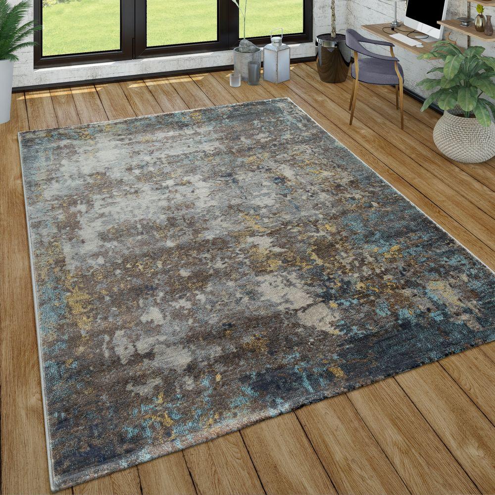 Rug Grey Living Room Soft Robust Stone Motif Rock Pattern 3D Effect Short-Pile