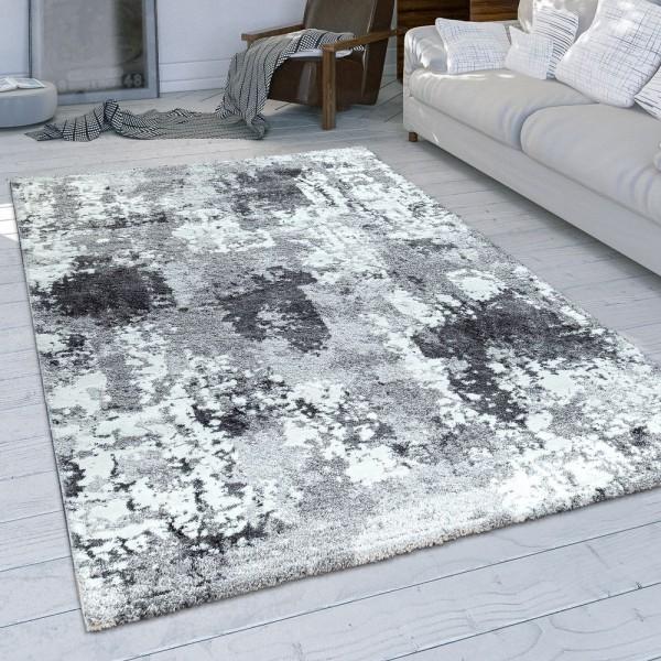 Wohnzimmer-Teppich, Kurzflor Mit Modernem Used-Look In Grau Und Weiß