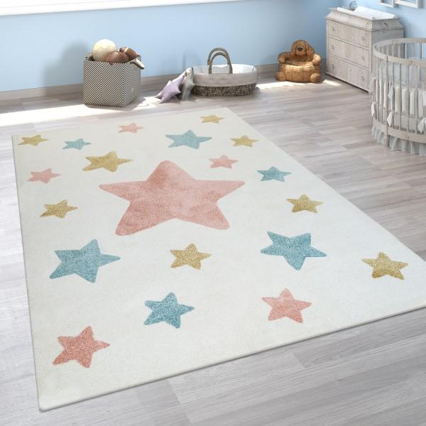 Kurzflor-Kinderteppich Sternen-Design Beige