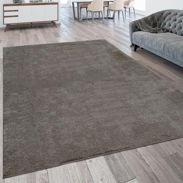 Wohnzimmer-Teppich, Einfarbig, Waschbarer Kurzflor-Teppich In Grau Taupe