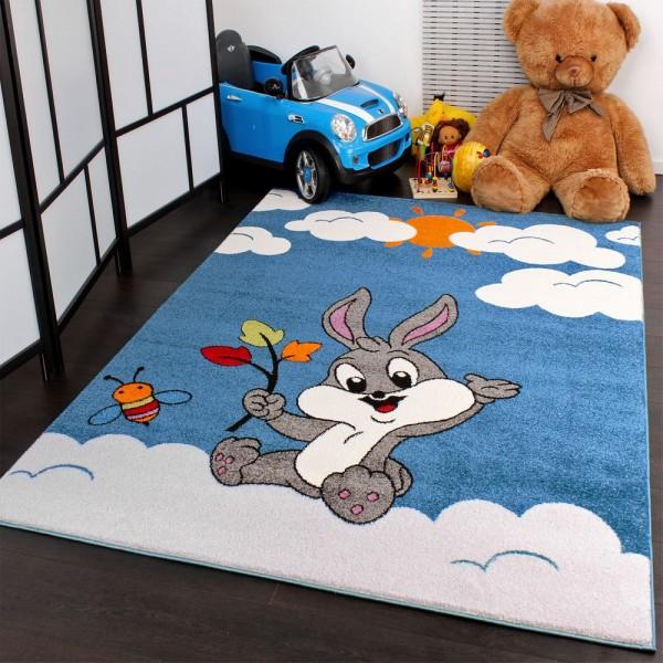Kinderteppich verspielter Hase in Türkis Creme zum Top Preis Neu