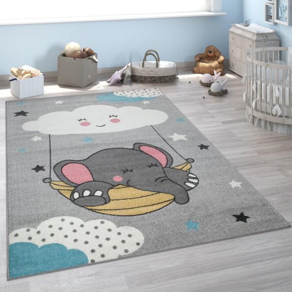 Tappeto per la camera dei bambini, con elefante e nuvola