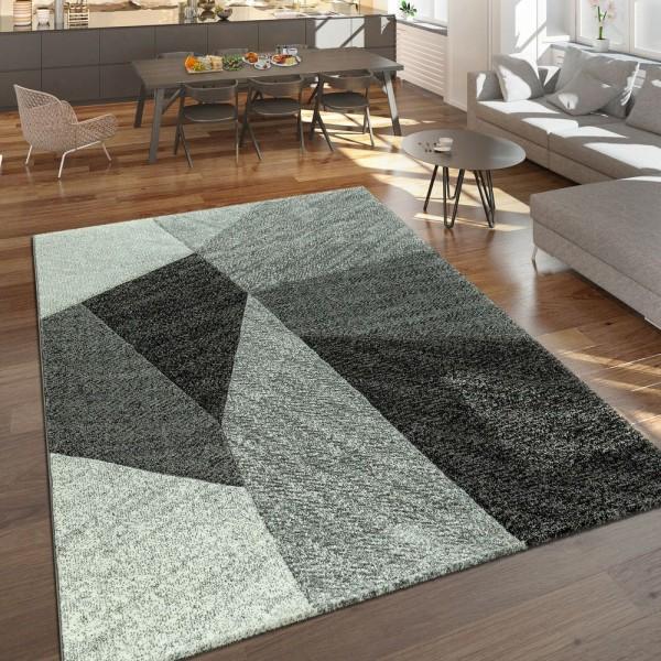 Designer Teppich Moderner Kurzflor Strick Optik Geometrische Muster Grau Anthrazit