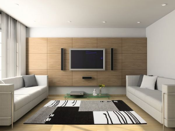 Moderner Designer Velours Teppich Schwarz Grau
