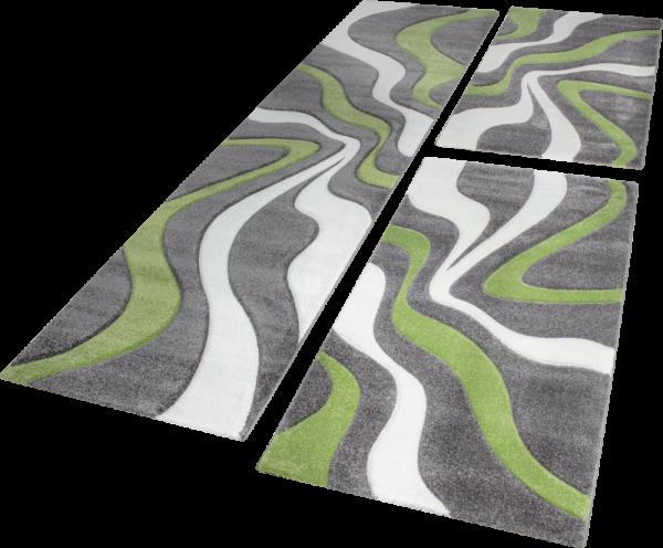 Läuferset Teppich Wellen Muster Grün Creme