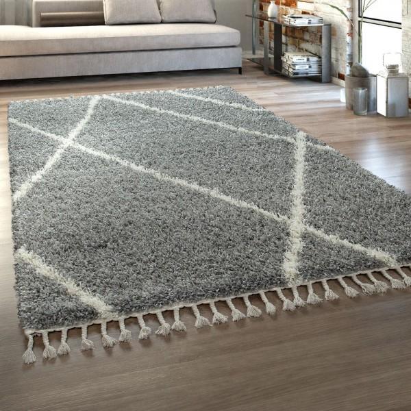 Hochflor Teppich Grau Wohnzimmer Weich Rauten Muster Kuschelig Fransen Shaggy
