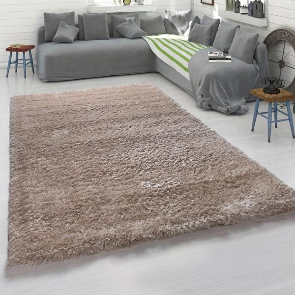 Hochflor-Teppich, Kuschelig Weicher Moderner Flokati-Teppich, Einfarbig In Beige