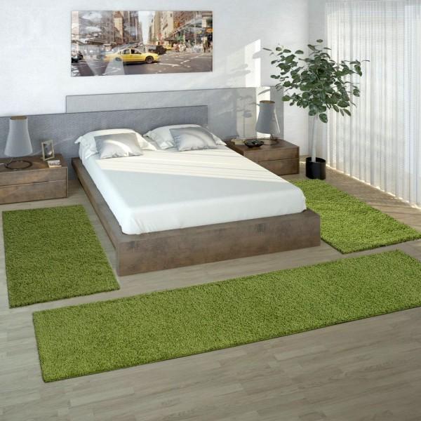 Bedside 3-Part Carpet Runner Set / Shaggy Carpet in Green