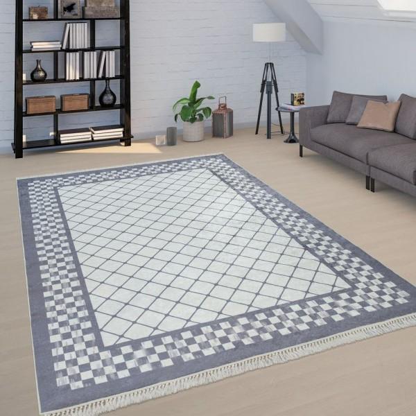 Wohnzimmer Teppich Grau Weiß Rauten Design Bordüre Used Look Kurzflor Robust