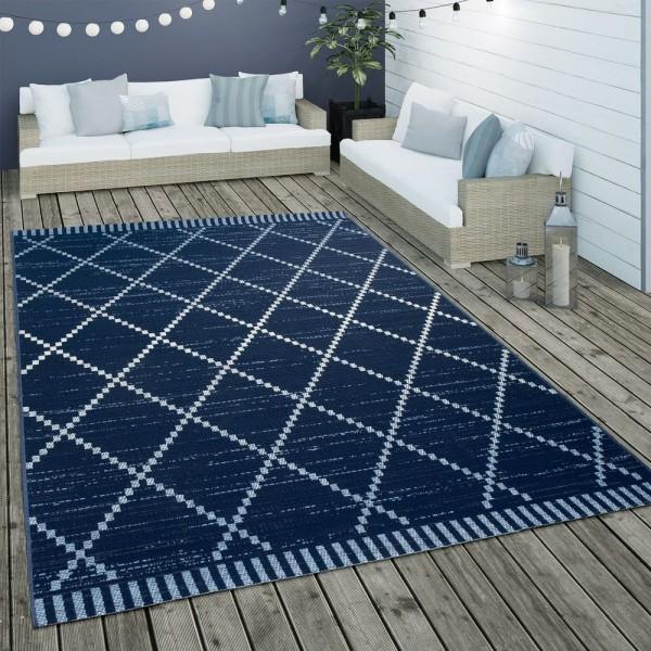 In- & Outdoor Flachgewebe Teppich Ethno Geometrisch Skandi-Design In Blau Weiß