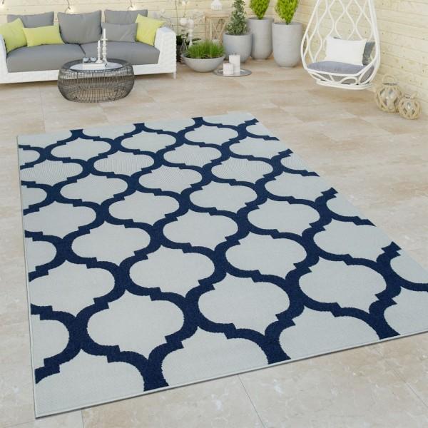 Outdoor Indoor Teppich Weiß Blau 3D Optik Marokkanisches Design Flachgewebe