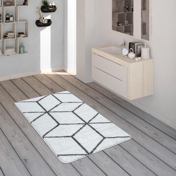 Badematte, Kurzflor-Teppich Für Badezimmer Mit Rauten-Muster In Anthrazit Weiß