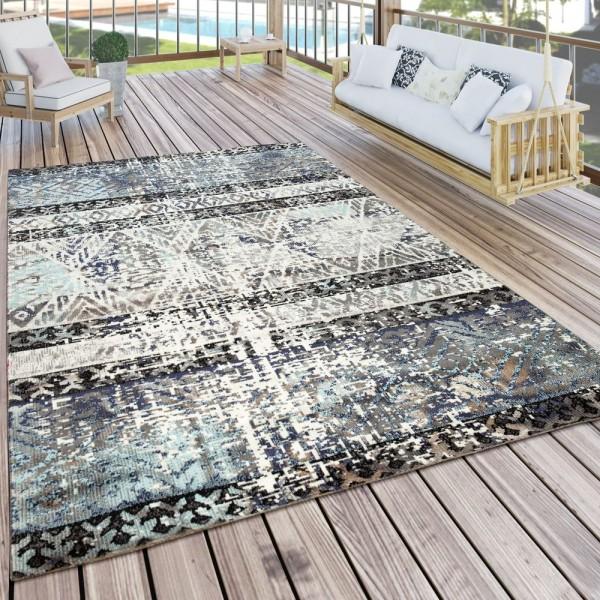 Teppich Outdoor Blau Beige Balkon Terrasse Used-Design Orient Muster Kurzflor