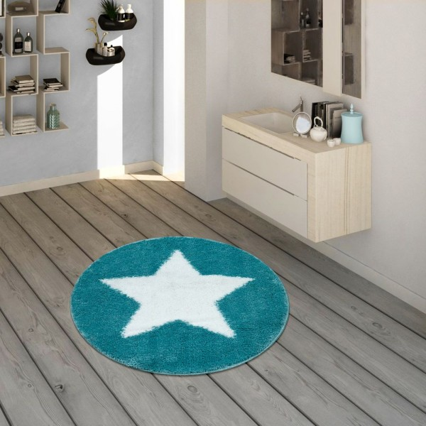Badematte, Runder Kurzflor-Teppich Für Badezimmer Mit Sternen-Motiv In Türkis
