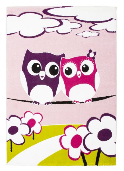 Moderner Kinder Velours Teppich Rosa Pink Fuchsia Weiss Eulen