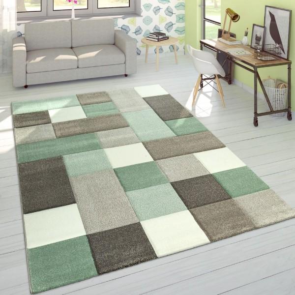 Designer Teppich Modern Konturenschnitt Moderne Pastellfarben Kariert Beige Grün