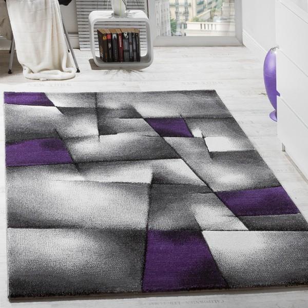 Designer Teppich Modern Kariert Handgefertigt mit Konturenschnitt Lila Grau