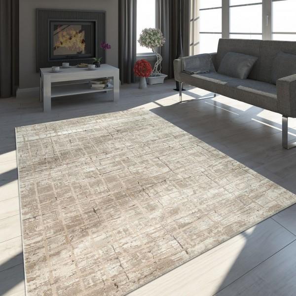 Orient Teppich Modern 3-D-Effekt Meliert Schimmernd Abstraktes Design Beige