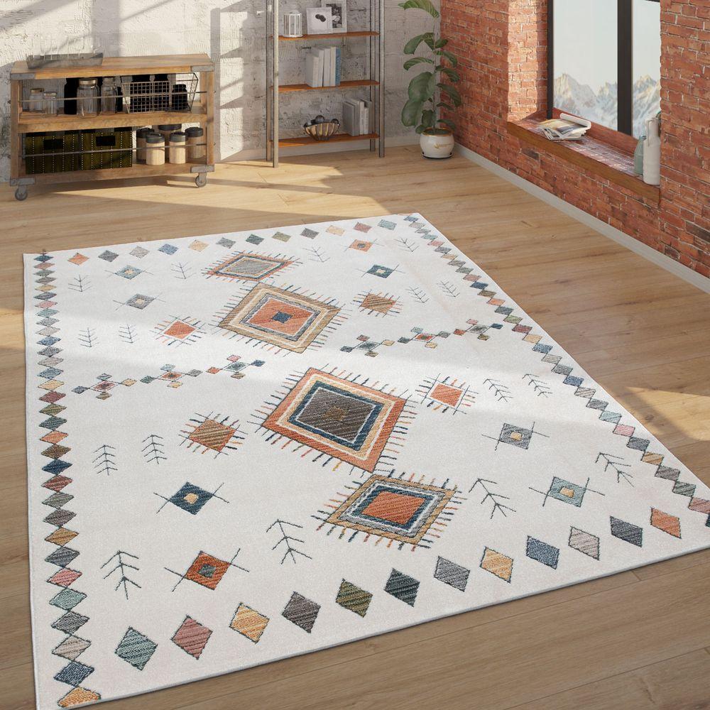 Ethno Teppich Abstraktes Muster Creme Beige 14