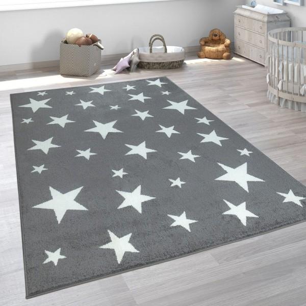 Kinderteppich Kinderzimmer Grau Anthrazit Sternen Muster Kurzflor Robust