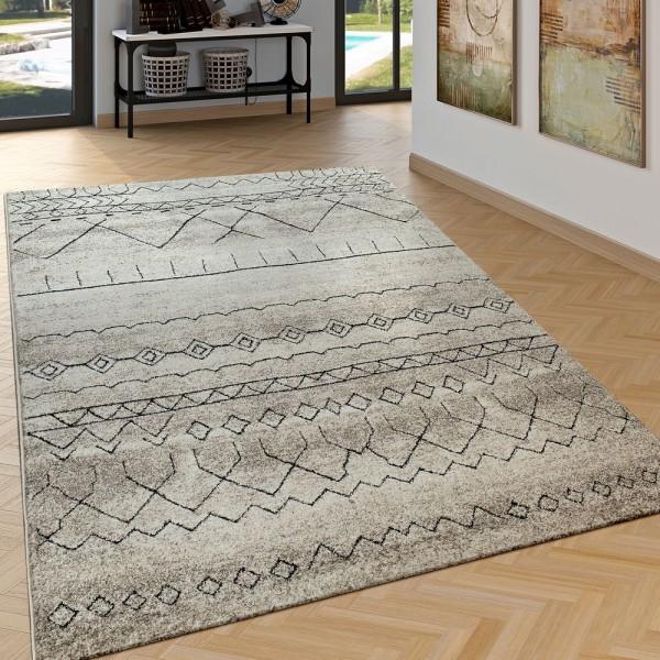 Edler Wohnzimmer Teppich Mit Ethno Muster Skandinavischer Stil In Schwarz Beige