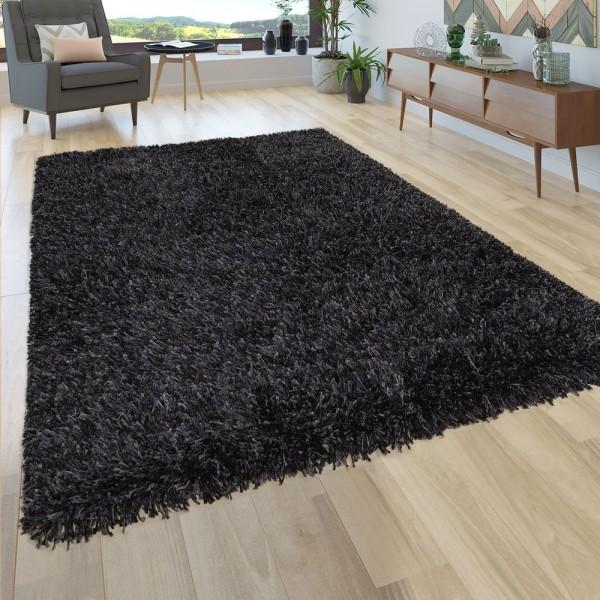 Hochflor Teppich Wohnzimmer Shaggy Anthrazit Schwarz, Extra Langer Weicher Flor