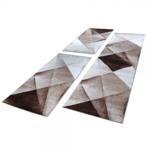 Läuferset Geometrische Muster Beige