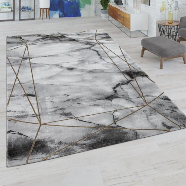 Wohnzimmer-Teppich, Kurzflor Mit Marmor-Optik Und Linien-Bordüre, In Grau Gold