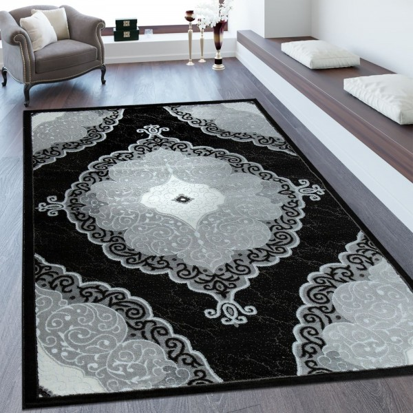 Kurzflorteppich Florales Muster Schwarz Weiß