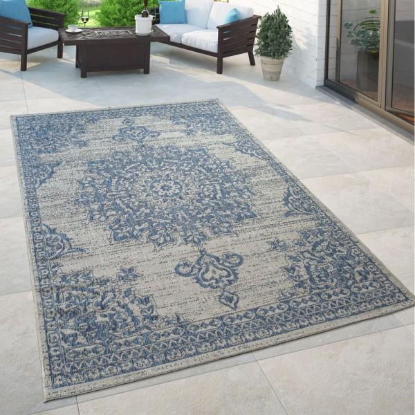 Outdoor Teppich Blau Beige Orient Design Blumen Muster Balkon Wohnzimmer