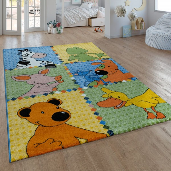 Kinder-Teppich, Kurzflor Für Kinderzimmer, Mit Sieben-Lieben-Motiv, In Bunt