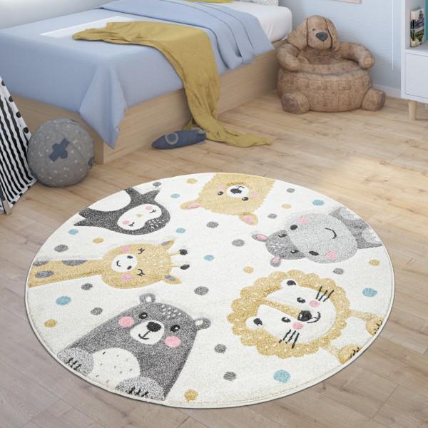 Kinderteppich Rund Teppich Kinderzimmer Tier Design