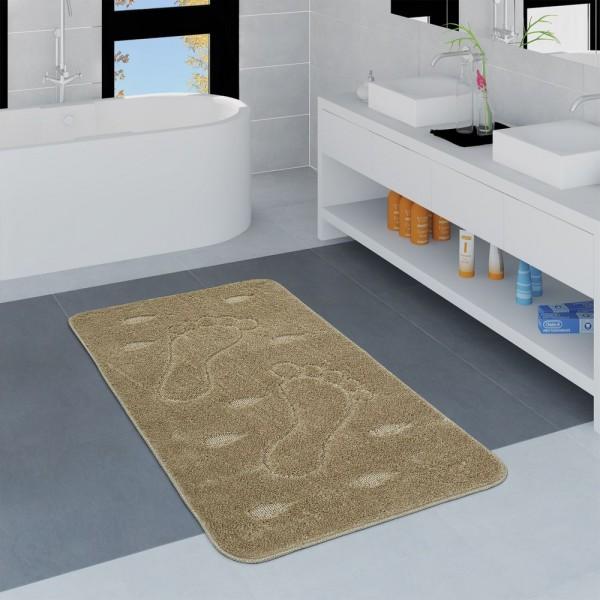 Moderner Badezimmer Teppich Rutschfest Badvorlerger Fußabdruck Einfarbig Beige