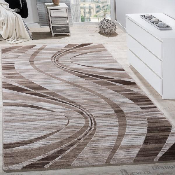 Teppich Wohnzimmer Konturenschnitt Wellen Abstrakt Design Meliert Beige Creme