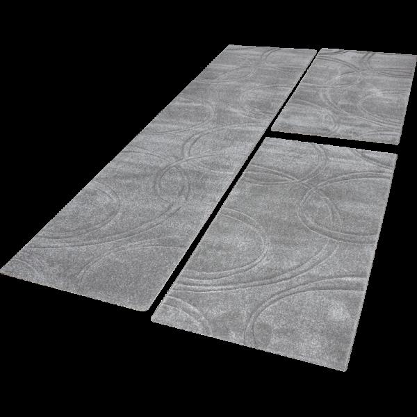 Läuferset Teppich Uni Grau