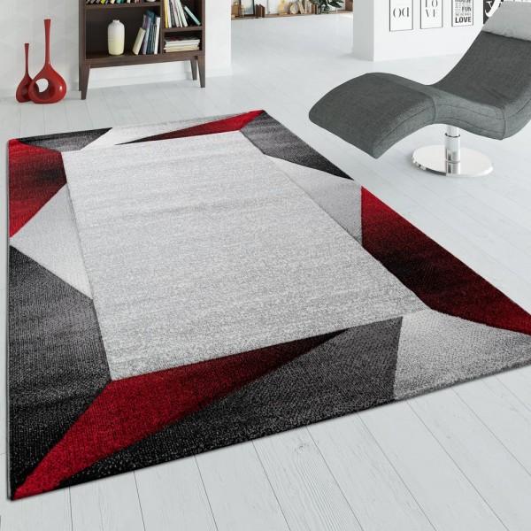 Wohnzimmer-Teppich, Kurzflor-Teppich Mit Bordüre und 3-D-Effekt, In Beige Rot