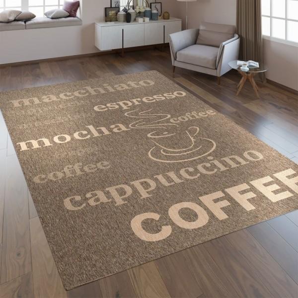 Flachgewebe Teppich Schriftzüge Kaffee Braun