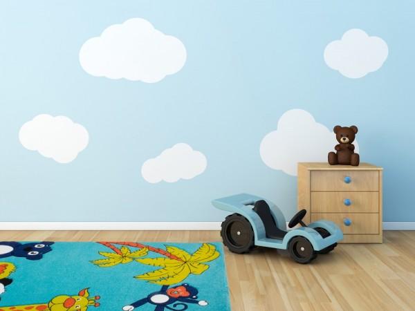 Moderner Kinder Velours Teppich Blau Weiss Rot Bunte Tierwelt