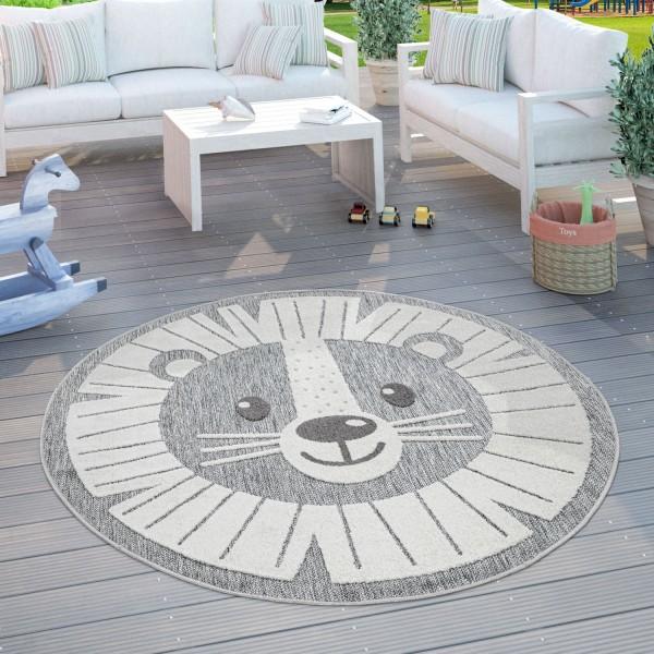 Kinder Teppich Kinderzimmer Rund 3D Effekt Löwe