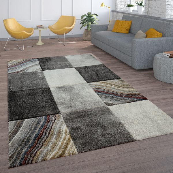 Short-Pile Rug Check Marble Effect Grey