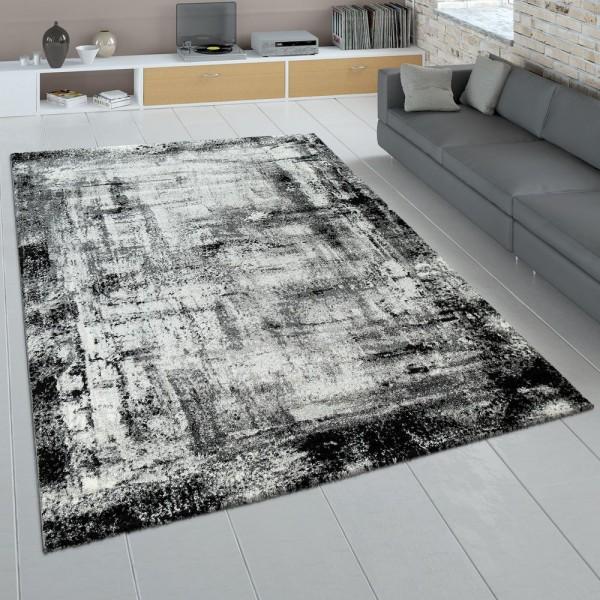 Wohnzimmer Teppich Grau Anthrazit Kurzflor Used Look Gemälde Abstraktes Design