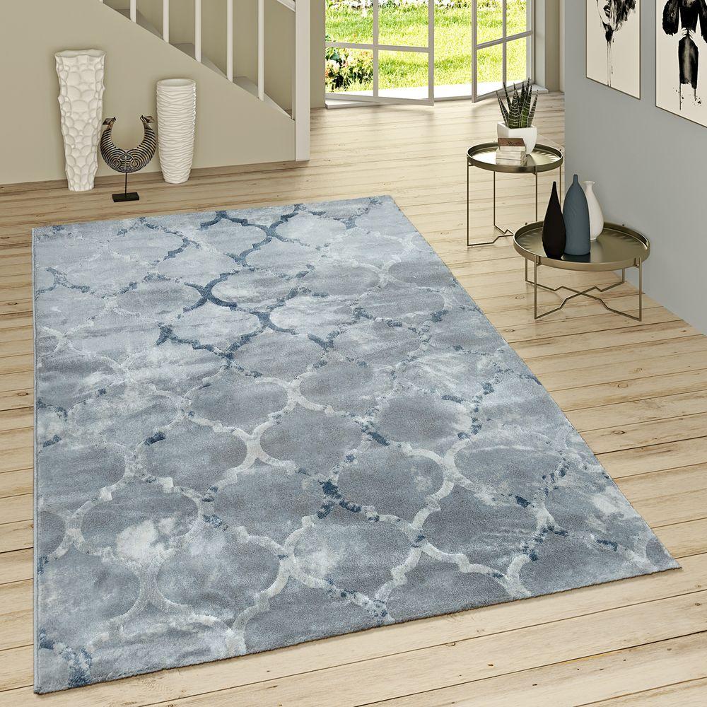 Wohnzimmer Teppich Kurzflor Waschbar Marokkanisches Design Modern In Türkis