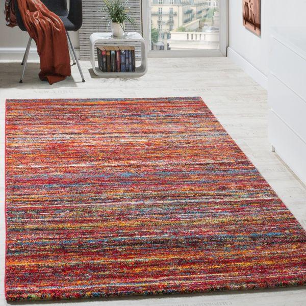 Teppiche Modern Wohnzimmer Teppich Spezial Melierung Rot Multicolour Meliert