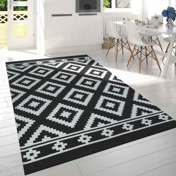 Wohnzimmer Teppich Schwarz Weiß Skandi Design Rauten Muster Robust Kurzflor