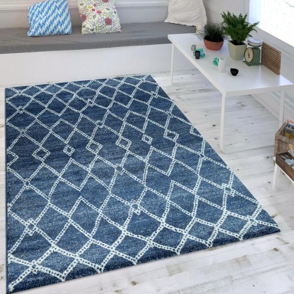 Wohnzimmer Teppich Indigo Blau Marokkanisches Muster Modern Maritimer Stil