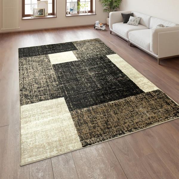 Designer Wohnzimmer Teppich Modern Kurzflor Karo Muster Braun Beige Creme