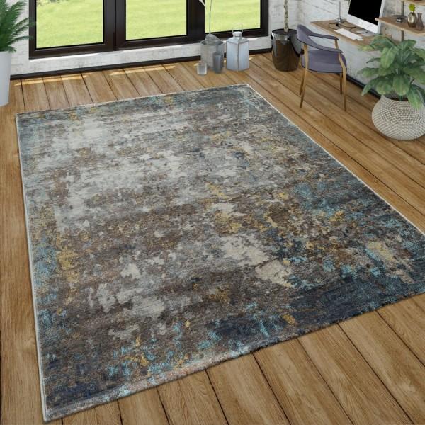 Wohnzimmer-Teppich Im Used-Look, Moderner Kurzflor Teppich In Grau Blau Gelb