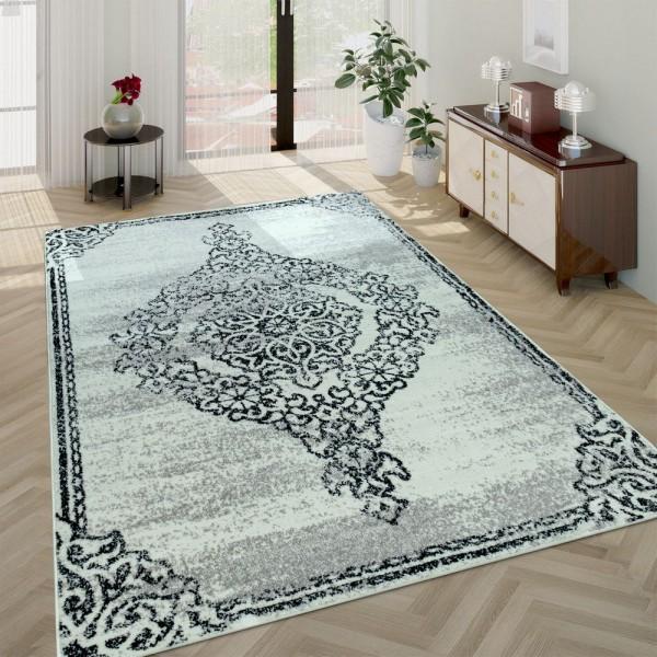 Wohnzimmer-Teppich, Kurzflor-Teppich Mit Used-Look Barockes Design, In Beige